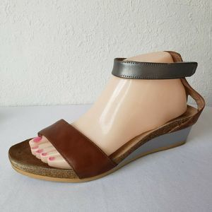 Naot Pixie Brown Low Wedge Ankle Strap Sandals